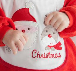 Baby als Weihnachtsmann