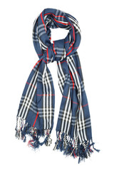 A scarf is woolen in a blue cage with red and white filaments