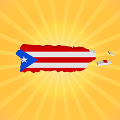 Puerto Rico map flag on sunburst illustration