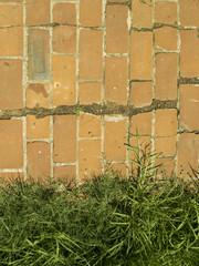Recorte de sendero de ladrillo antiguo. Detalle borde.