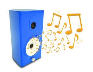 Music notes around audio speakers