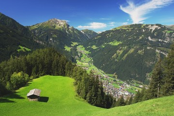 View of the Zillertal valley and the town Mayrhofen, Austria