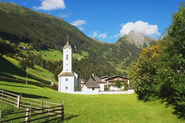 View of the church in Zillertal Valley, Austrian Alps