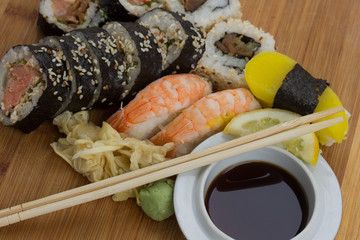 traditional japanese sushi and rolls set
