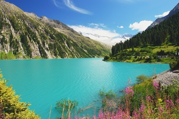 View of the alpine lake in the valley Zillertal, Austrian Alps