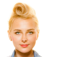 Pin-up blond girl with retro hair bun isolated