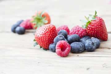 summer fruits and berries, strawberries, blueberries, raspberrie