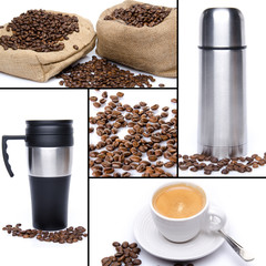 Coffee collage, beans, cup of coffee, thermos flask