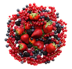 Composition of red and black fresh fruits