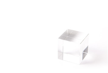 paperweight of a transparent cube