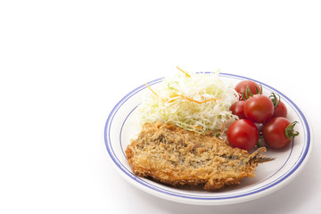 vegetables and fried fish