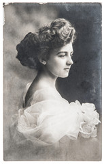 antique portrait of young woman with rose flowers