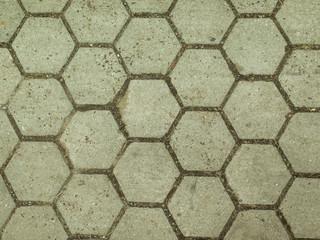 Textura de piso de bloques de cemento premoldeado hexagonal