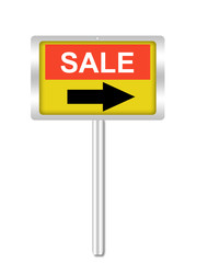 A conceptual sign on sale isolated on white