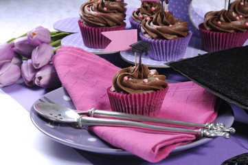 Graduation day pink and purple party table setting cupcakes - cl