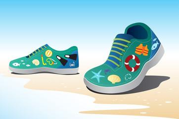 sea icon on green shoe, travel concept