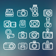 Camera icons of abstract blur backgrounds, vector eps10