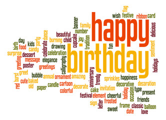 Happy birthday word cloud