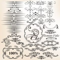 Vector set of vintage decorative calligraphic elements for desig
