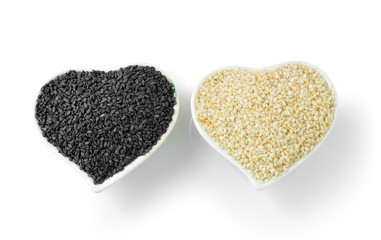 sesame in Heart Shaped Cup  isolated on white background