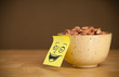 Post-it note with smiley face sticked on a cereal bowl