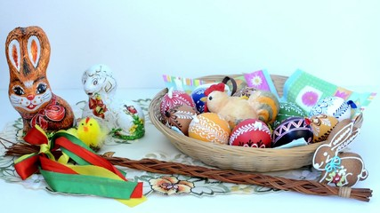 Easter decoration - basket of painted eggs and other decorations