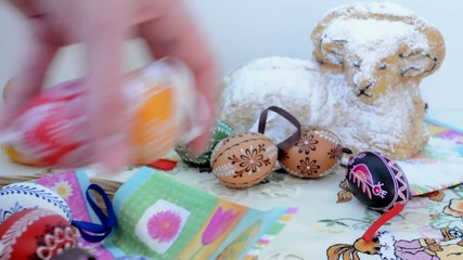 Easter decoration - remove some eggs from the table.