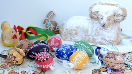 Easter decoration - painted eggs and ram
