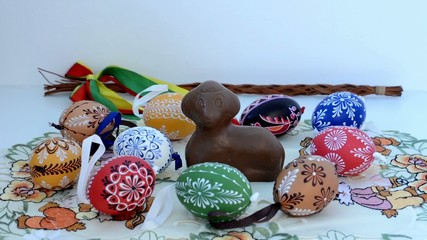 Easter decoration - chocolate ram with painted eggs