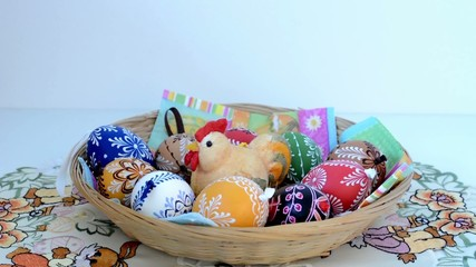 Easter decoration - basket of painted eggs