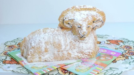 Easter decoration - ram to eat on the tablecloth