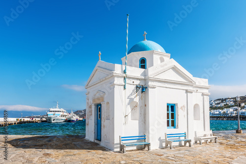 Whitewashed and blue domed Agios Nikolaos church in Mykonos