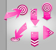 Set of pink labels for wide variety of use.