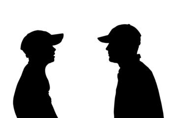 Vector silhouette of a men.