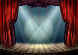 Theater stage with red curtains and spotlights - 65365858