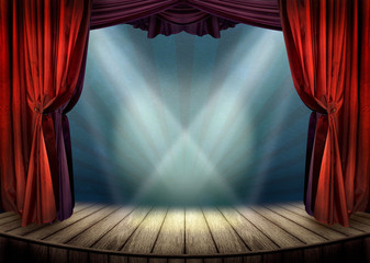 Theater stage with red curtains and spotlights