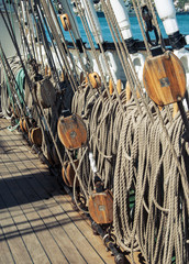 deck of the old sailing ship, tackle and ropes