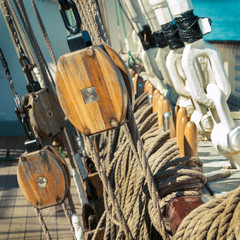 old sailing ship - tackle and ropes