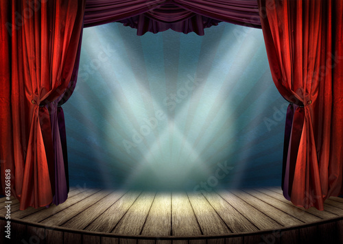Fotobehang Stad gebouw Theater stage with red curtains and spotlights