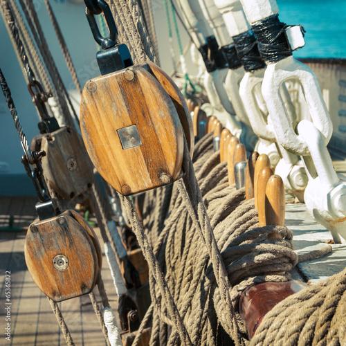 old sailing ship - tackle and ropes