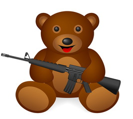 Teddy bear M16 on a white background. Vector illustration.