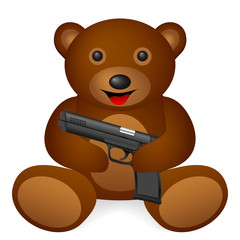 Teddy bear pistol on a white background. Vector illustration.