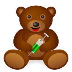 Teddy bear syringe on a white background. Vector illustration.