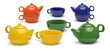 Sets of colored ceramic teapots and mugs isolated on a white bac