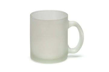 Matt glass mug isolated on white background
