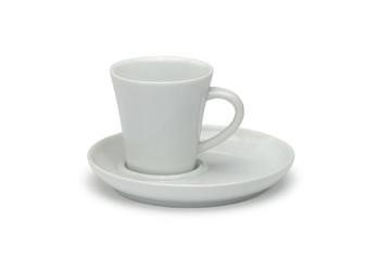 White ceramic coffee cup and white ceramic saucer isolated on wh