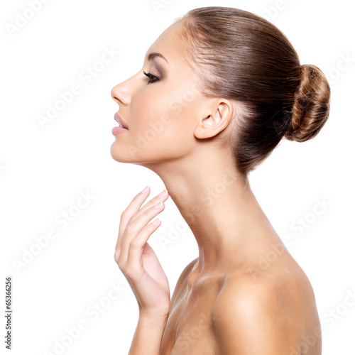 Profile of a beautiful woman with fresh clean skin