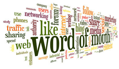 Word of mouth in word tag cloud