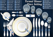 Set of Place Setting Formal Dinner Vector Placemat