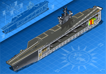 Section of Isometric Aircraft Carrier in Front View